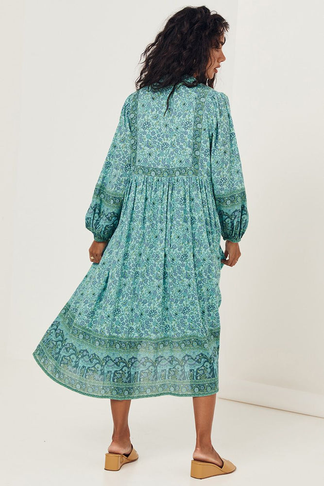 spell sundown boho dress turquoise