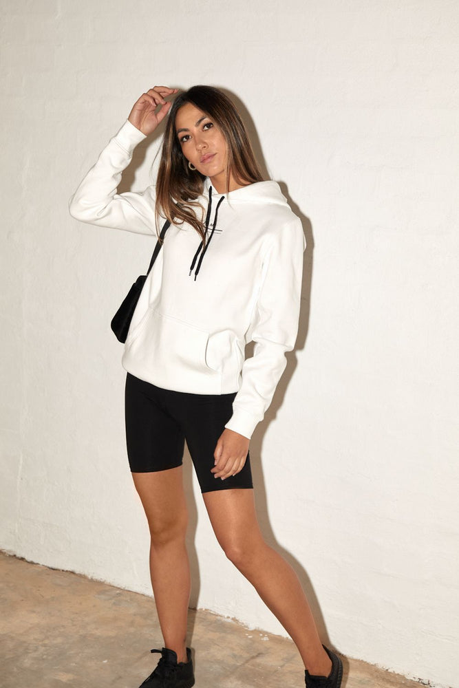 slow down hoodie white with black