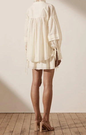 shona joy pia balloon sleeve blouse ivory