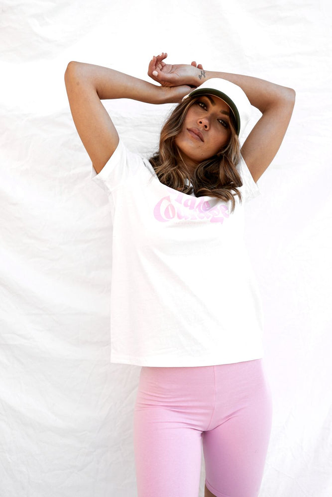 take courage tee natural with pink