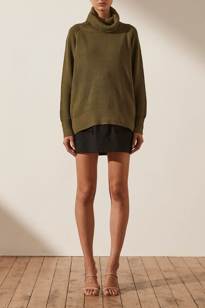 shona joy madeline roll neck jumper olive