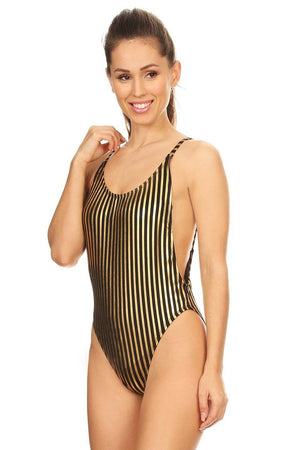 Black And Gold Stripe High Cut Vintage Swimsuit