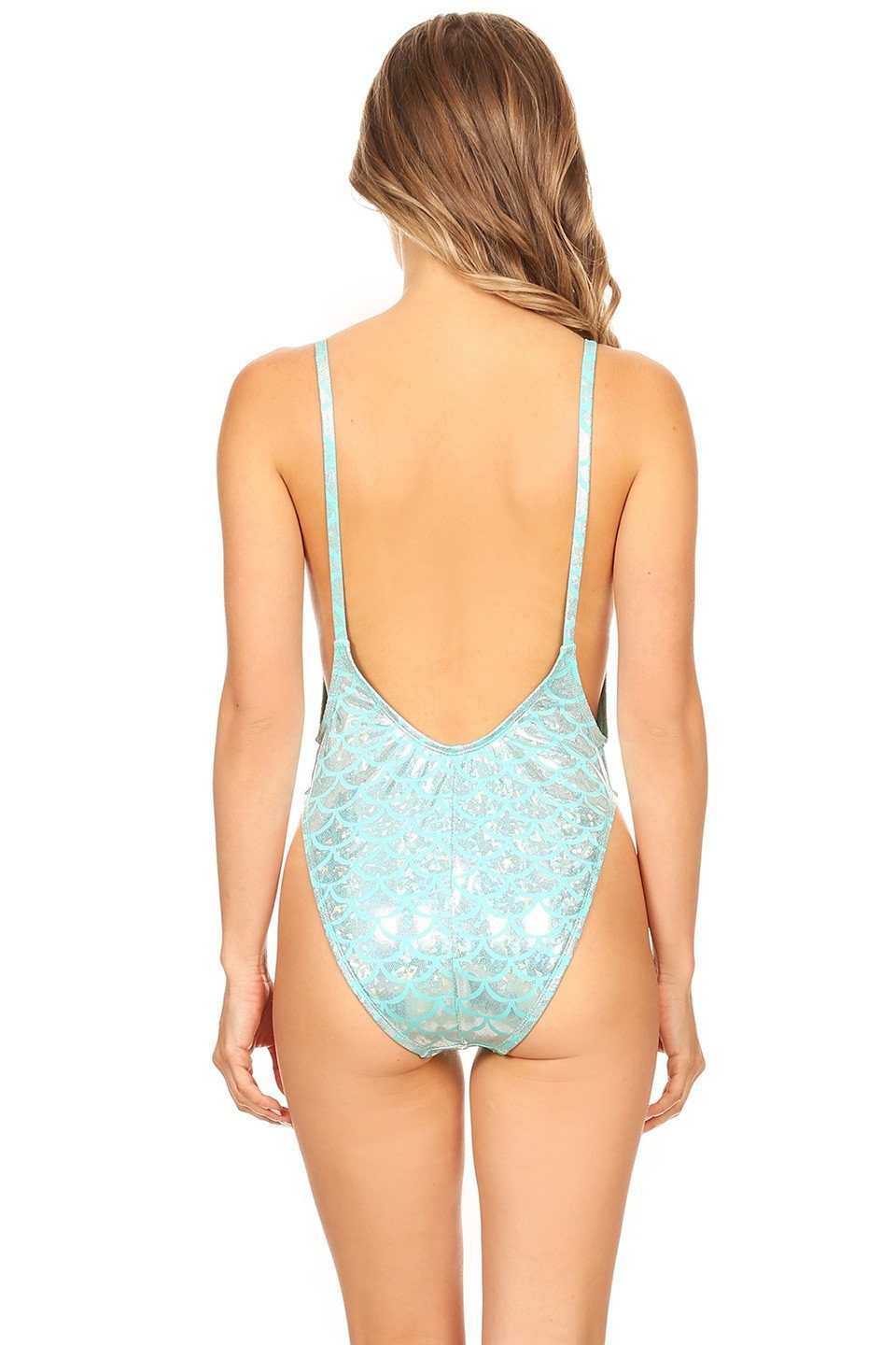 Blue Scales Mermaid High Cut Vintage Swimsuit Back - Dippin' Daisy's Swimwear