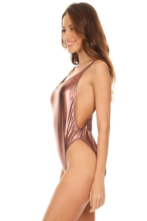 Bronze Metal High Cut Vintage Swimsuit - Dippin' Daisy's Swimwear