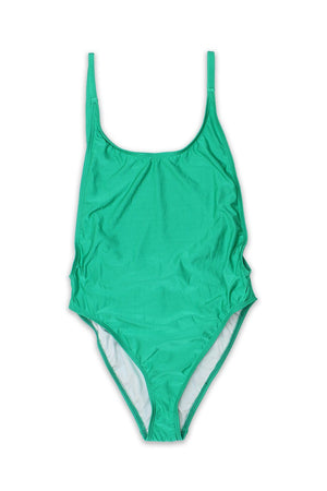 Green Velvet Womens High-Cut Vintage One Piece - Front - Dippin' Daisy's