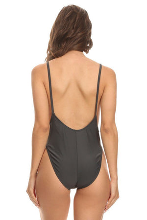 Solid Dark Gray High Cut Vintage Swimsuit Back - Dippin' Daisy's Swimwear