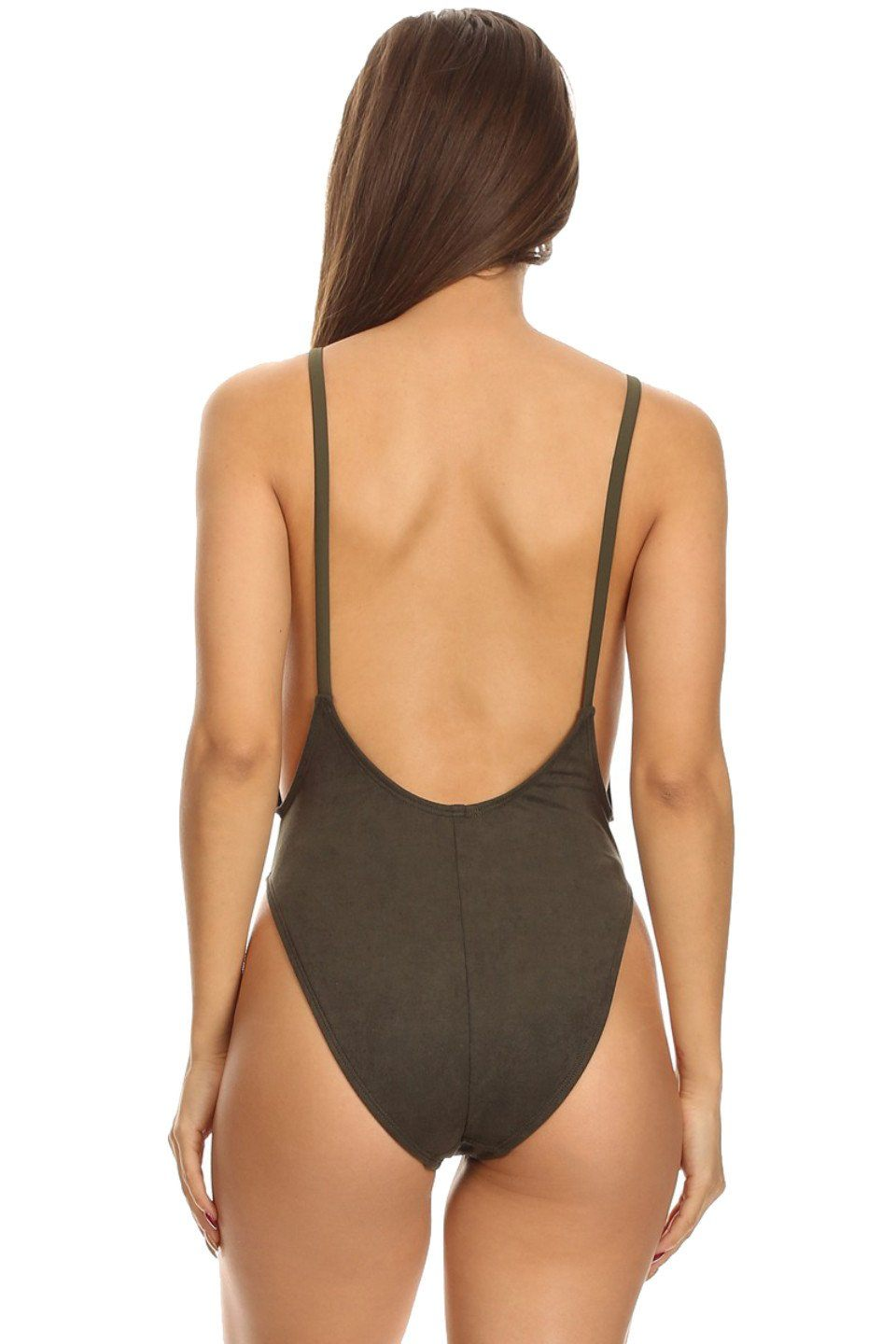 Olive Suede High Cut Vintage Swimsuit Back - Dippin' Daisy's Swimwear