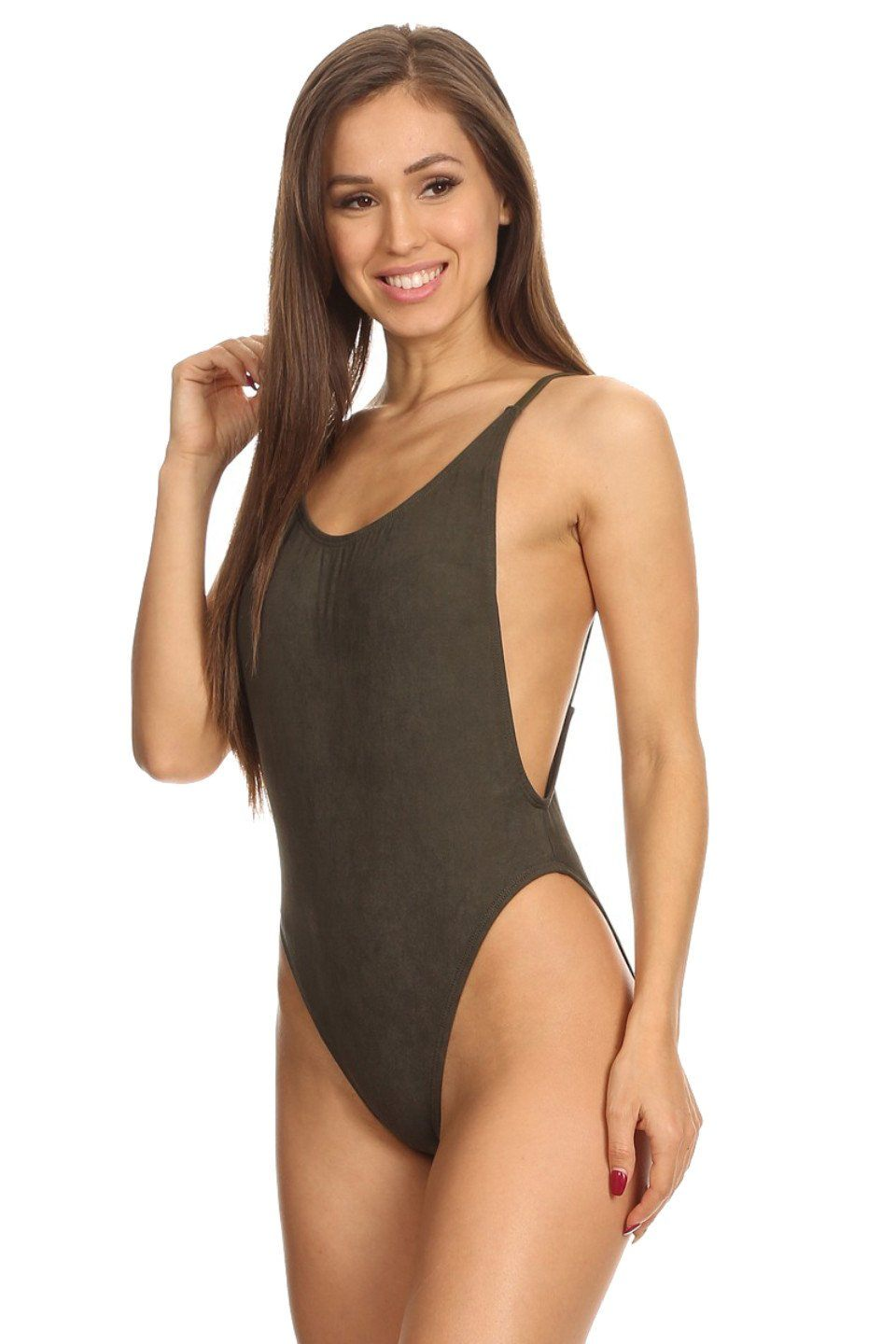 Olive Suede High Cut Vintage Swimsuit Side - Dippin' Daisy's Swimwear