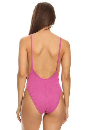 Pink Suede High Cut Vintage Swimsuit Back - Dippin' Daisy's Swimwear