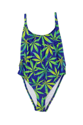 Pot Leaf High Cut Vintage One Piece Front - Dippin' Daisy's Swimwear