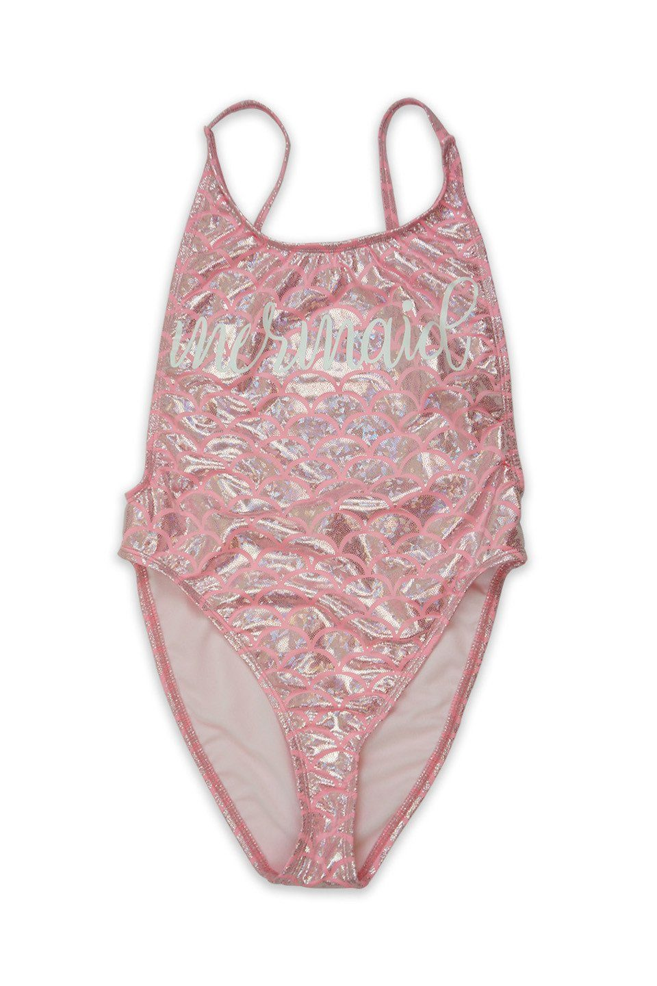 Pink Scales Mermaid High Cut Vintage Swimsuit Front - Dippin' Daisy's Swimwear