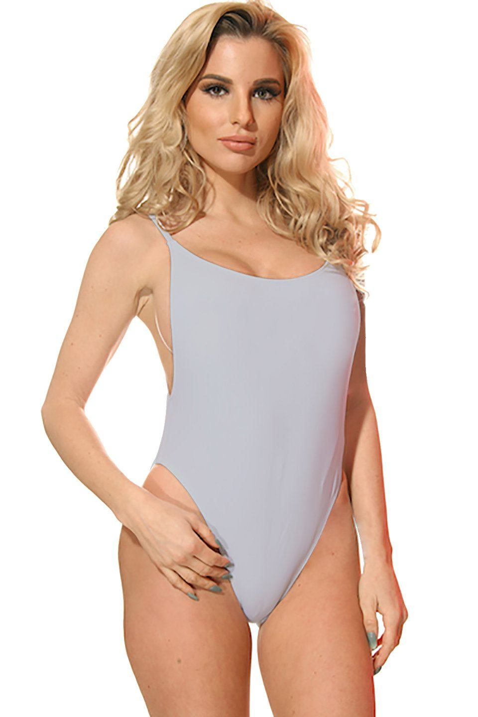 Stone Gray High Cut Vintage Swimsuit Front - Dippin' Daisy's Swimwear