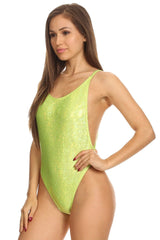 Yellow Shiny High Cut Vintage Swimsuit - Dippin' Daisy's Swimwear