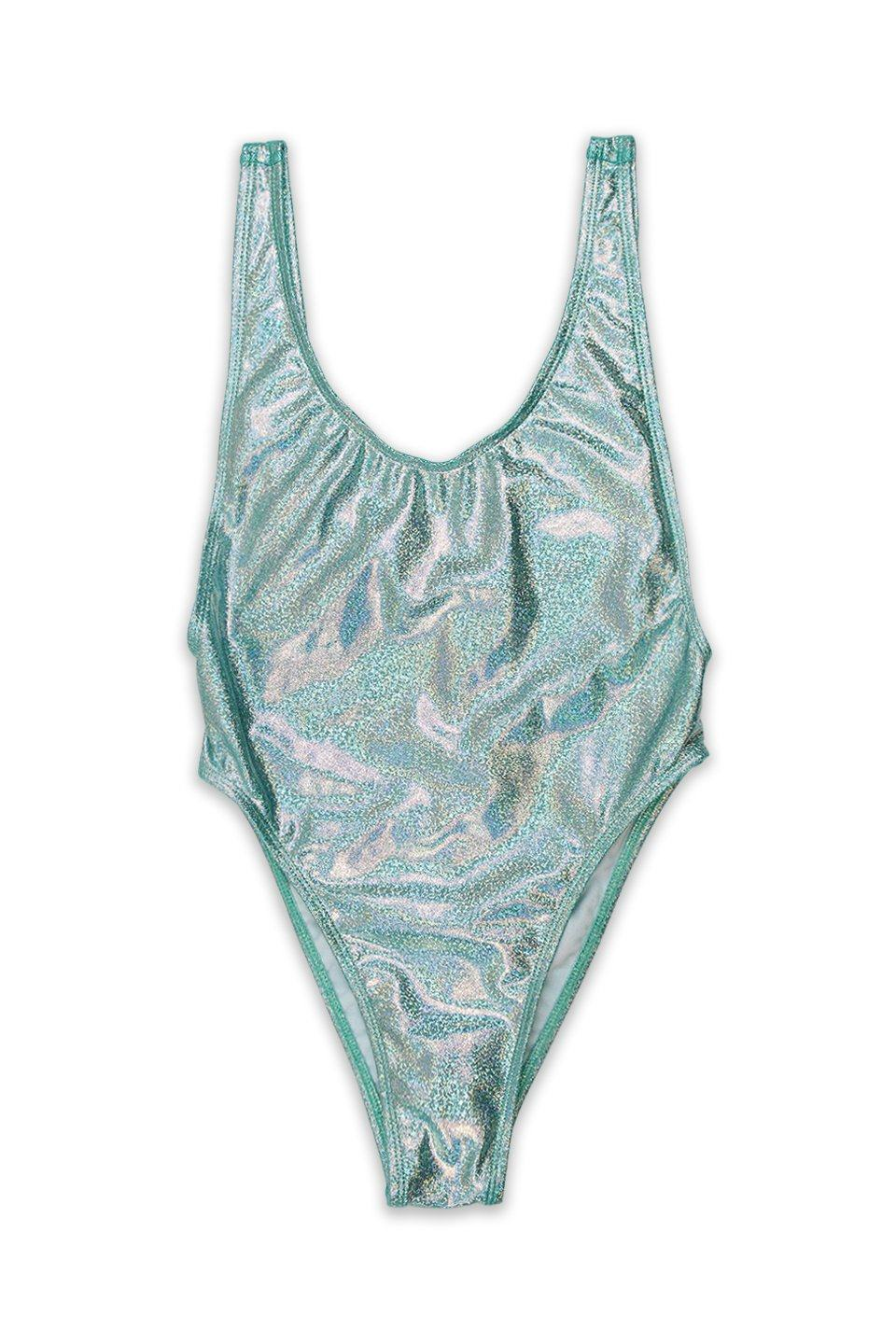 Blue Glitter V-Cleavage High Cut One Piece Front - Dippin' Daisy's Swimwear