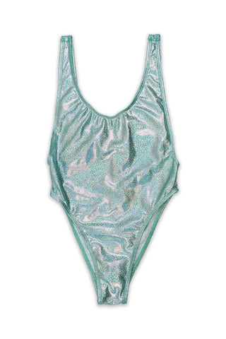Blue Glitter V-Cleavage High Cut One Piece