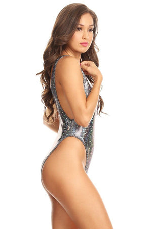 Silver Disco Scoop Neck High Cut One Piece Side - Dippin' Daisy's Swimwear