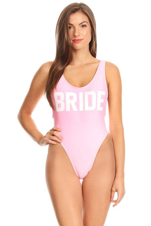Solid Pink BRIDE Scoop Neck High Cut One Piece Front - Dippin' Daisy's Swimwear