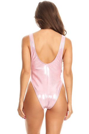 Pink Glitter Scoop Neck High Cut One Piece Back - Dippin' Daisy's Swimwear