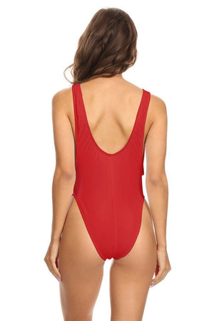 Solid Red Scoop Neck High Cut One Piece Back - Dippin' Daisy's Swimwear