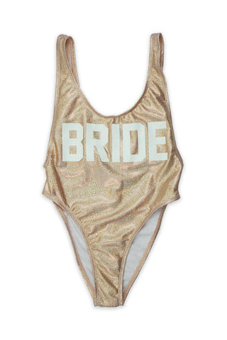 Rose Gold BRIDE V-Cleavage High Cut One Piece