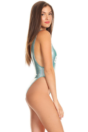 Shiny Blue BRIDES MAID Scoop Neck High Cut One Piece Side - Dippin' Daisy's Swimwear
