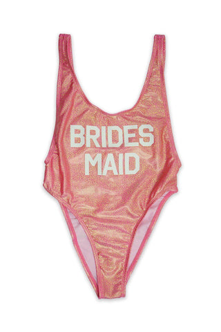 Shiny Pink BRIDES MAID V-Cleavage High Cut One Piece