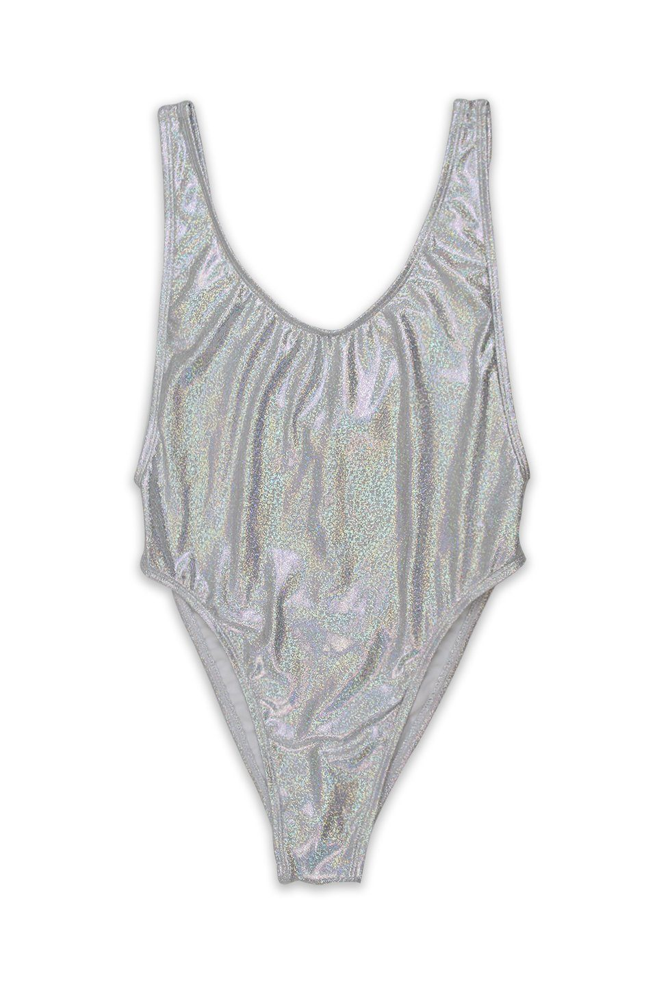 Silver Glitter V-Cleavage High Cut One Piece Front - Dippin' Daisy's Swimwear