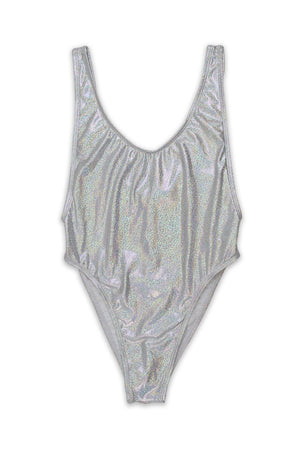 Silver Glitter Scoop Neck High Cut One Piece Front - Dippin' Daisy's Swimwear