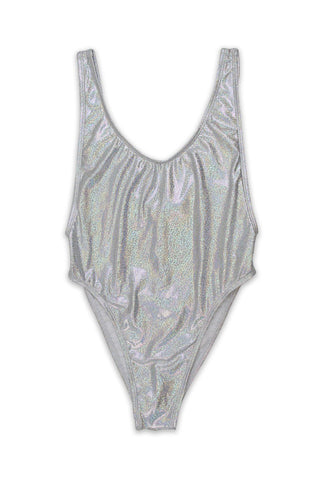 Silver Glitter V-Cleavage High Cut One Piece