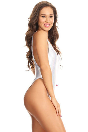 Silver Glitter Scoop Neck High Cut One Piece Side - Dippin' Daisy's Swimwear