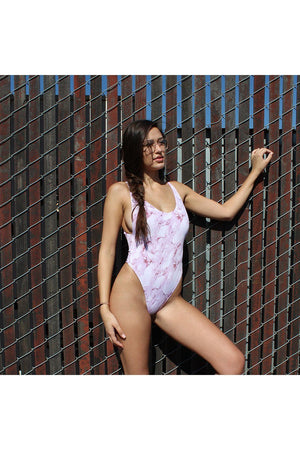 Mauve Marble Seamless High Cut Thong ONE PIECE Model Side - Dippin' Daisy's Swimwear