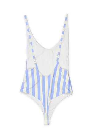 LOW BACK THONG ONE PIECE - SKY BEACH STRIPES Back View