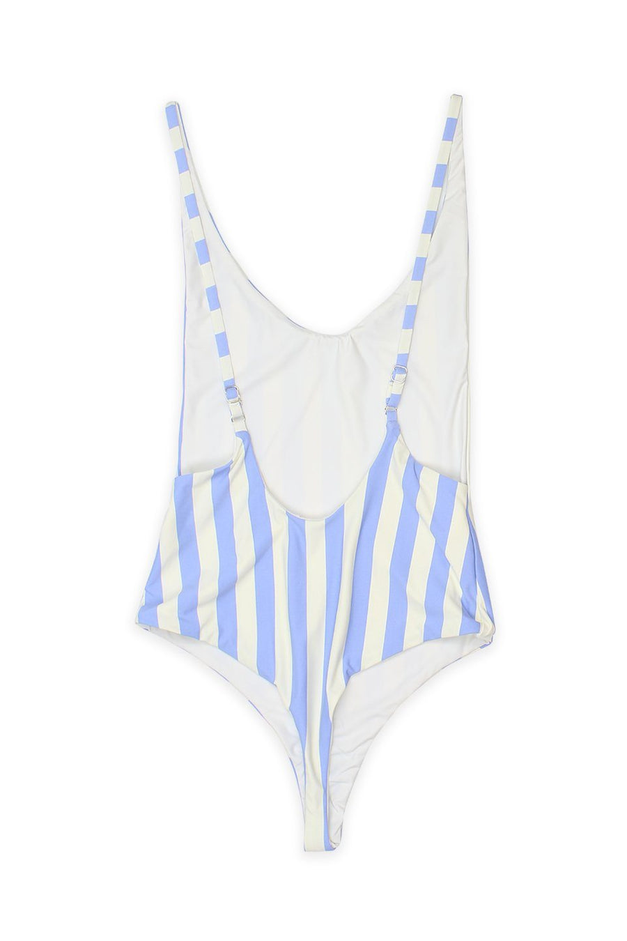 LOW BACK THONG ONE PIECE - SKY BEACH STRIPESFront View