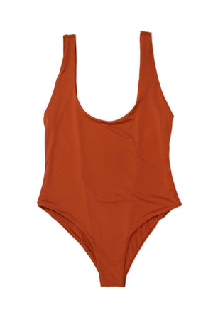 LOW BACK MODERATE COVERAGE ONE PIECE - RUSTFront View