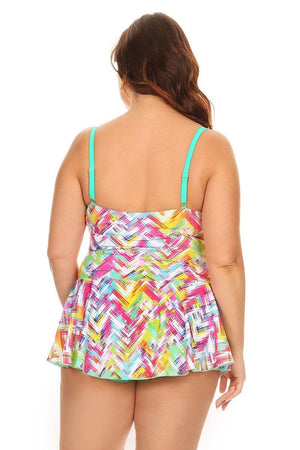Plus Size Mint Plaid One Piece Swimdress