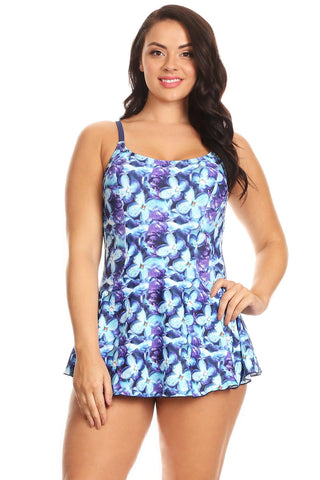 Plus Size Periwinkle One Piece Swimdress Front - Dippin' Daisy's Swimwear