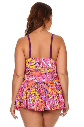 Plus Size Feathers One Piece Swimdress Back - Dippin' Daisy's Swimwear