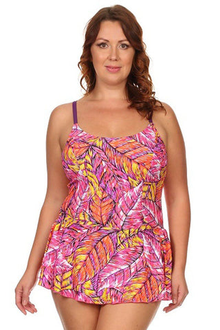 Plus Size Feathers One Piece Swimdress Front - Dippin' Daisy's Swimwear