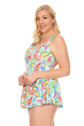 Plus Size Green Paisley One Piece Swimdress Side - Dippin' Daisy's Swimwear