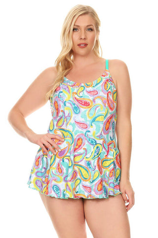 Plus Size Green Paisley One Piece Swimdress Front - Dippin' Daisy's Swimwear