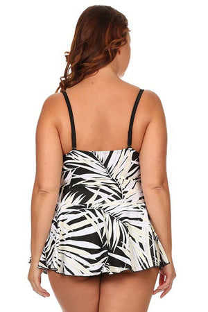 Plus Size White Leaf One Piece Swimdress