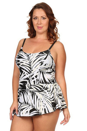 Plus Size White Leaf One-Piece Swimdress