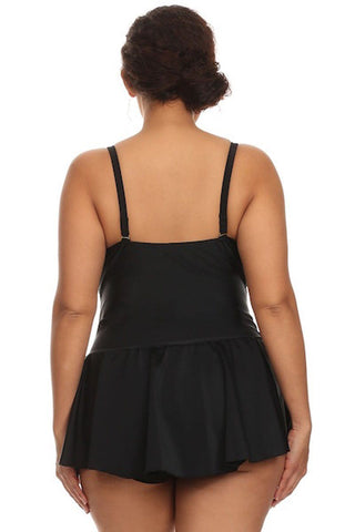 Plus Size Solid Black One Piece Swimdress Back - Dippin' Daisy's Swimwear