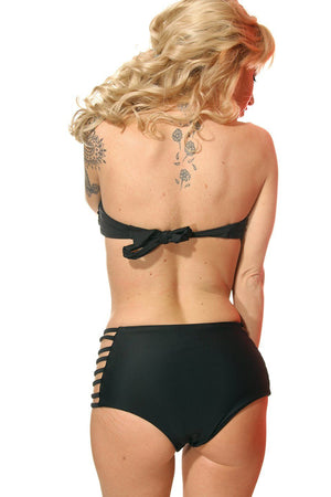 Black Strappy Bandeau Top with Strappy High Waist Bottom - Dippin' Daisy's Swimwear