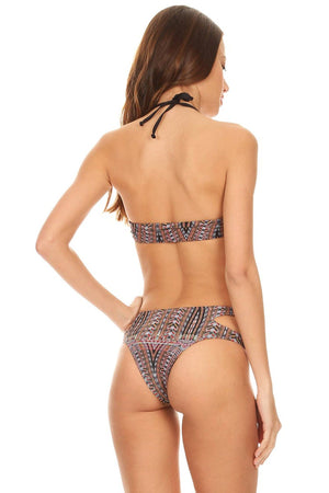 Multi Black Native Two Piece Hi-Neck Tank with Cutout Cheeky Bottom - Back - Dippin' Daisy's Swimwear
