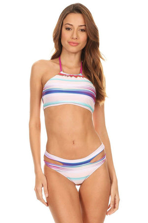Multi Tan Dye Two Piece Hi-Neck Tank with Cutout Cheeky Bottom - Front - Dippin' Daisy's Swimwear