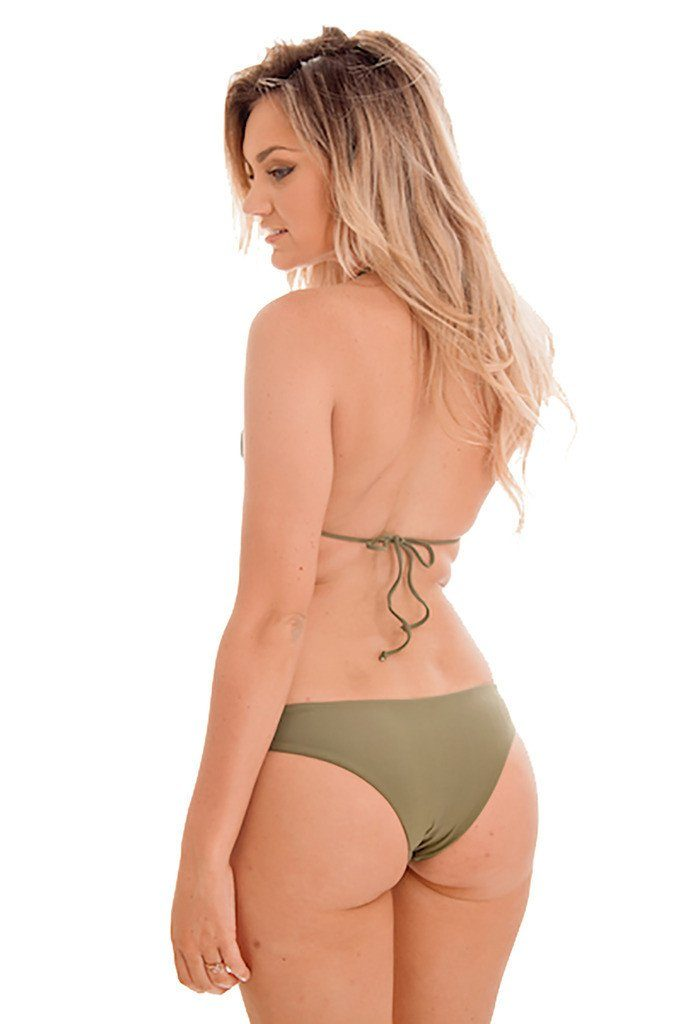 Olive Green Two-Piece Triangle Macrame Cheeky Bikini - Dippin' Daisy's Swimwear