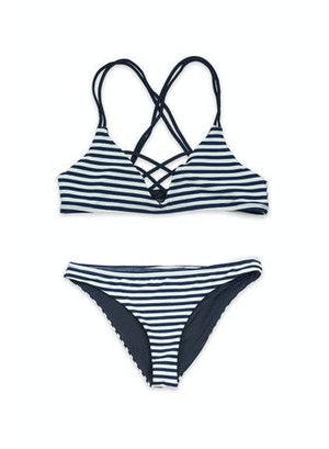 Sailor Two-Piece Layered Criss-Cross Strappy Seamless Bandeau Bikini