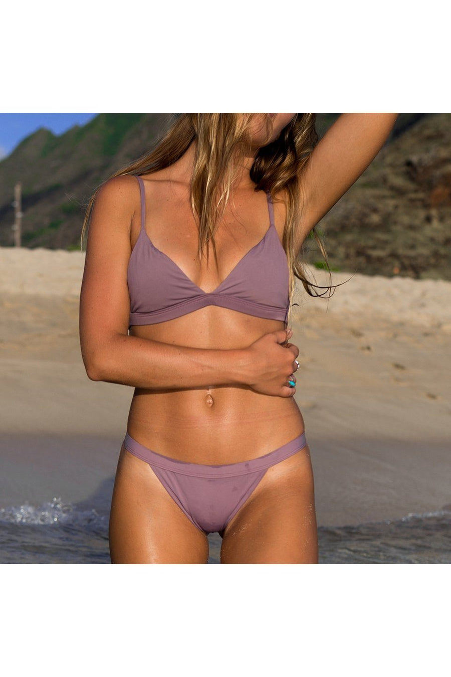 SEAMLESS PULL OVER TRI TOP - PURPLE HAZEFront View
