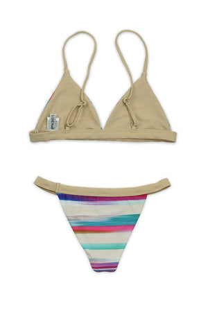 Tan Stripe Two-Piece Over-the-Shoulder Triangle Top with Banded Bottom - Back - Dippin' Daisy's Swimwear